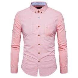 Wholesale Thick Winter Shirts For Men - Top Quality Casual Shirt For Men Strip Patchwork Pink Color Men Shirt Autumn And Winter Trendy Thick Cotton POLO Wear
