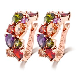 Wholesale Gold Jewelery Sets - Beautiful Color Crystal Earring Gold Plated Alloy Jewelry Party Round Style Jewelery Earrings Set For Women