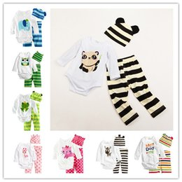 Wholesale Romper Hat Pants - 13styles Cute Baby Cartoon animal Triangle Romper suits Hat+Romer+Pants Infants long sleeve Romper sets cotton baby animal clothes sets