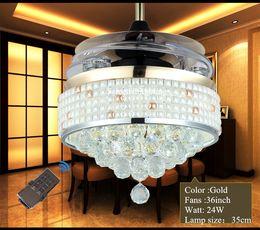 Cortinas de luz de techo de cristal online-Ventilador de techo moderno Crystal Light con Drum 220V 110V Control remoto Ventiladores de techo invisible Modern Fan Lamp Mosaic Shade