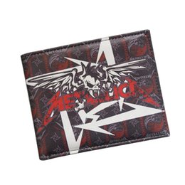 Wholesale Vintage Metal Fans - Original Brand Hot Rock Band Music Wallets Heavy Metal Band Metallica Wallet Bifold iD Card Holder Leather Fans Men Women Wallet Wholesale