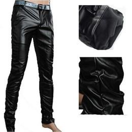 Wholesale Leather Pants 36 Men - Wholesale-Spring Autumn Hot Sale Mens Faux Leather Pants Casual Slim Fit Fashion Skinny PU Men's Pants Size 27-36