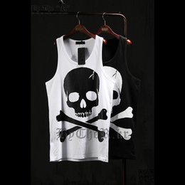 Wholesale Mens Vest Tank Tops - Wholesale-2016 New Casual Mens Skull Printed Hip Hip-Hop Tank Tops Bodybuliding Loose Vest Punk Sports Top Tees Wite Black T-shirt WS925