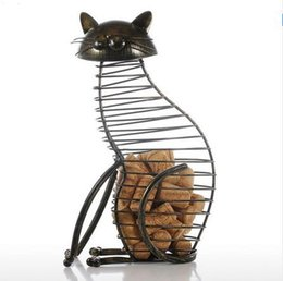 Wholesale Ornaments Iron - Cat Barware Wine Cork Container Bar Accessories Iron Craft Modern Home Decor Gift Handicraft Metal Animal Ornament