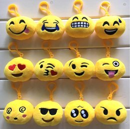 Wholesale Doll Face Bags - 2017 New Key Chains 6cm Emoji Smiley Small pendant Emotion Yellow QQ Expression Stuffed Plush doll toy for Mobile bag pendant