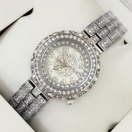 2019 Fashion Luxury Silver Women Dress Watch con diamante completo de acero inoxidable reloj de pulsera mesa de joyería de alta calidad de envío de gota de cuarzo desde fabricantes