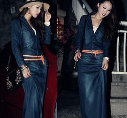 Wholesale Denim Brand Jeans For Women - 2016 Korean Fashion Women brand Maxi Long Denim Dresses S-XXL Sexy Side Split Solid Casual Vestdos Jeans Shirt slim Dress for Summer Autumn