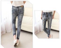 Wholesale Girls Skinny Harem Pants - young girl denim legging casual harem jeans popular Europe American fashion foil gold 6sizes 1color 19278