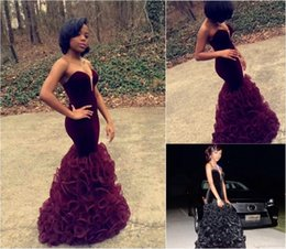 Wholesale Sweetheart Ruffle Long Prom Dress - 2016 Burgundy Ruffles Mermaid Prom Dresses Long Sweetheart Velvet Bodice Sexy Black African Arabic Evening Gowns Party Dress Pageant Gown