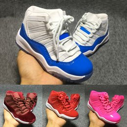 Wholesale Retro Boy Top - Cute Baby Retro 11 Basketball Shoes Boy Girl Trainer High Top Sneakers Children Athletic Shoes Kids Sports Shoes Birthday Gift Red Pink Blue