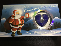 Wholesale Silver Wish Boxes Necklace - blue Box Santa Claus Love Wish Pearl Necklace Set Oyster Drop Pendant Xmas Gift