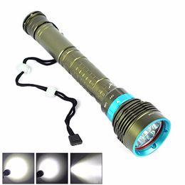 Wholesale underwater hunting - Free shipping New 10000 Lumen 7T6 XML-T6 LED Diving Flashlight Underwater Torch Lamp Waterproof Linternas light lamp