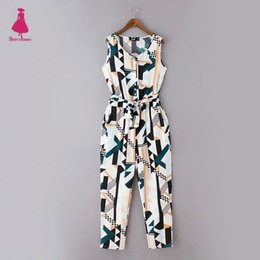 Wholesale Colorful Rompers - Wholesale- Retro Colorful Geometry Pattern Sleeveless Slim Overalls Elastic Waist Sashes Bow Casual Rompers Jumpsuit Bodysuit Trendy Women
