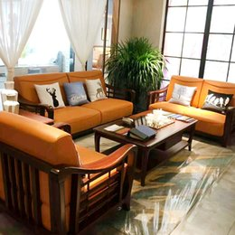 Wholesale Wood Living Room Furniture Sets - Sofa set Walnut Living Room Furniture Combination of Chinese living room full solid wood furniture Leather Chaise longue