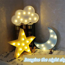 Wholesale Emergency Sign - Lovely Cloud Star Moon Night Light LED Marquee Sign Warm White LED Night Lamp for Baby Childrens Bedroom Decor Kids Gift Toy