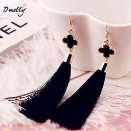 Wholesale Chandelier Thread - Thread Long Tassel Earrings Four Clover Drop Statement Fringe Earrings for Women Luxury Tear Drop Earrings European Rhinestone Tassel Dangle