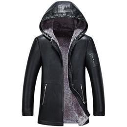 Wholesale Leather Sheep Skin Coats - Mens Sheep Skin Leather Jackets Hooded Cashmere Fur Coat Winter Outwear Overcoat Tops Waterproof Windbreak Warm Thick Plus Size