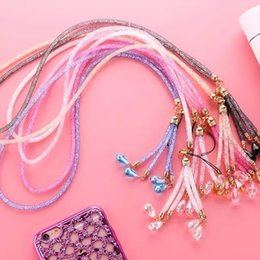Wholesale Wholesale Rhinestone Neck Lanyards - 40cm Bling Phone Lanyard Straps Fashion Diamond Shiny Cell Phone Charms Colorful Jewelry Rhinestone Long Neck ID Cards Mobile Chain 250pcs