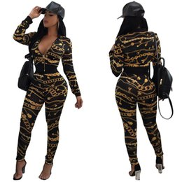 Wholesale Yoga Jacket Xl - Two Pieces Gold Chain Printed Zipper Jacket + Long Pants Sexy Women Tracksuits Fashion Casual Long Sleeve Sport Suits SF09-12
