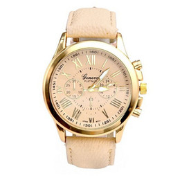 Wholesale Womens Classic Watch - NEW Geneva Womens Roman Numerals Faux Leather Analog Quartz Watch Beige Cheap Geneva Wristwatches Watches classic look Lady wrist watches
