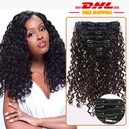 Wholesale European Clip Curly Hair - DHL Free Shipping 7A Clip in Human Hair Brazilian European Virgin Hair Clip in Extensions Deep Curly Clip in Hair Extensions