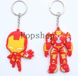 Superheld schlüsselanhänger online-Neue 40 teile / los Superhero The Avengers Iron Man Rot Schlüsselanhänger PVC Figur Schlüsselanhänger Anhänger Geschenk