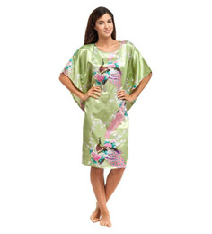 Wholesale Chinese Peacock Silk - Wholesale-Green Femmes Robes Silk Rayon Sexy Nightdress Women Summer Nightgown Chinese Style Sleepwear Peacock&Flower Oversize 6XL A-077