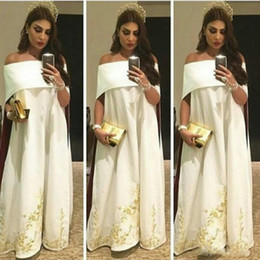 Wholesale Kaftans Dresses - Saudi Arabic Kaftans With Embroidery Sexy Off The Shoulder White Evening Gowns Floor Length Prom Party Dresses For Women 2017