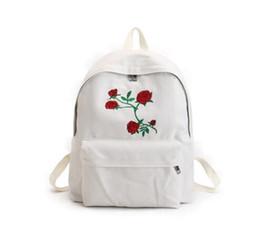 Wholesale Skull Rose Bag - Women canvas backpack cute fashion rose printing backpacks for teenagers women's travel bags mochilas rucksack school bags