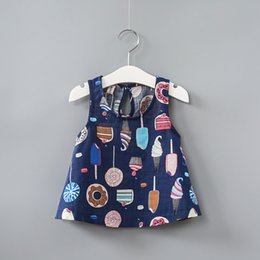 Wholesale Girls Ice Cream Top - Summer girls Korean color ice cream skirt full printing children cotton blouse shirt cute baby tank tops