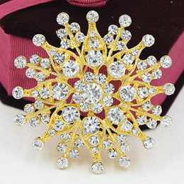 Wholesale White Elegant Scarves - Elegant Gold Plated Sparkling Clear Crystals Big Flower Women Brooch Wedding Bridal Bouquet Luxury Pins Brooches Lady Scarf Pins