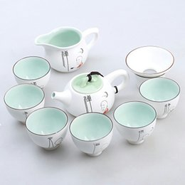 Wholesale Tea Cups Felt - A bright feeling in front of you brief wind classic white tea set with a teapot with eight cups frugality meets your needs