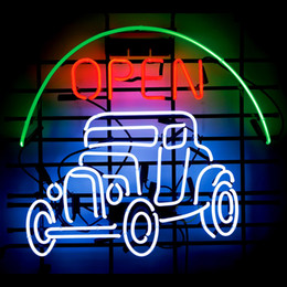 Wholesale Hot Rod Neon Sign - Hot Rod Open Real Glass Neon Light Sign Home Beer Bar Pub Recreation Room Game Room Windows Garage Wall Sign