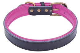 Wholesale Leather Metal Dog Collars - Free Shipping Wholesale Genuine Real Lamb Leather Pet Dog Puppy Collars with Bingpet Logo Brass Metal Buckle 4 Colors Assorted