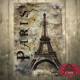 Wholesale Paris Chic - Metal signs vintage LARGE Retro Paris Shabby chic humour kitchen Tin wall plaque gift J-02 160909#
