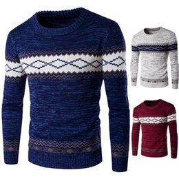 Wholesale Mens Fashion Knitwear - Thick Men Warm Sweaters Crew Neck Long Sleeve Knitwear For Mens Pullover Slim Sweater Nation Style Fashion Men Sweater J161011