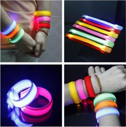 Wholesale Flashing Led Armbands - 22*2cm Flashing LED Armband Wrist Straps 3 Modes Nylon Glowing Led Bracelet LED Glowing Wristband CCA7763 100pcs