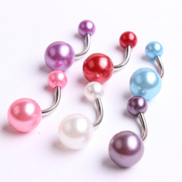 Wholesale Uv Navel Belly Ring - Acrylic Pearl Belly Ring Piercing 2016 Women Fashion Navel Button Bar Uv Body Jewelry 50pcs lot