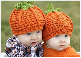 Wholesale Pumpkin Costume Baby - New Arrival Baby Pumpkin Hats Crochet Knitted Baby Kids Photo Props Infant BABY Costume Winter Hats halloween pumpkin gift