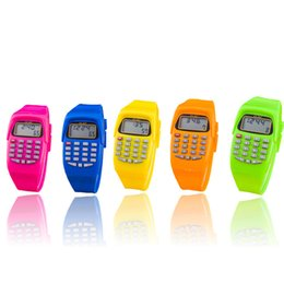 Wholesale Multifunction Calculator - Wholesale- High Quali Fashion Digital Calculator With LED Watch Function Casual Silicone Sports For Kids Children Multifunction Calculating