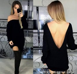 Wholesale Knitted Tunic Dress - 2017 new Women Casual knitted sweater Dresses Fashion sexy Backless Jumper Tops Ladies Long Sleeve Loose Tunic Mini Dress