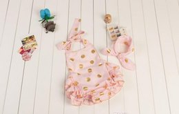 Wholesale Gold Headband Bow - Summer babies romper Gold Dot Sequins Lace Sleeveless with bow Headband 2Set Romper boutique diaper suit one-piece