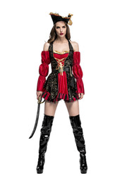 Wholesale Sexy Red Pirate Costume - Halloween New High quality Somali pirates cosplay costume suit for sexy and beautiful women dress sexy red wholesale PS028