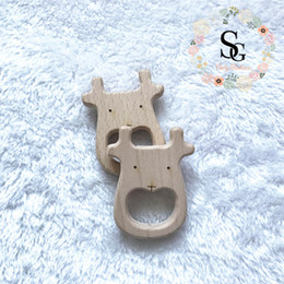 Wholesale Moose Toys - 10 pcs lot Natural Wood Teether Animal - Moose head teether. High-Quality Untreated moose teether, baby moose wood teether,toy wood teether