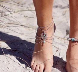 Wholesale Ethnic Anklets - fashion Silver Ethnic Summer Anklet Boho Beads Anklets Bracelet Foot Chain Beach Jewelry Girl