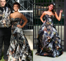 Wholesale Camo Evening Dress - 2016 Unique Ball Gown Camo Prom Dresses Sweetheart Sleeveless Pickup Lace Up Evening Dress Formal Gowns
