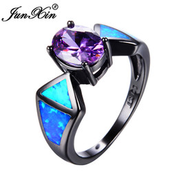 Wholesale Fire Opal Ring Gold - JUNXIN New Fashion Blue Fire Opal Ring Vintage Purple Ring Black Gold Filled Jewelry Wedding Rings For Men And Women