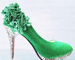 Wholesale Glass Dress Shoes - Glass slipper bride shoes high with round head thin shallow mouth wedding bridesmaid Women's shoes green shoes