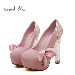 Wholesale Korean Fashion Platform Rubber Shoes - Korean New Summer Brand Women Pumps Fashion Crystal Round Toe Platform High Heels Sweet Bowtie Shoes Free Shipping