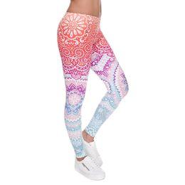 Wholesale Legging Spandex High Waist - Women Fashion Legging Aztec Round Ombre Printing leggins Slim High Waist Leggings Woman Pants